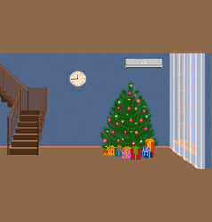 Christmas interior of living room with christmas vector