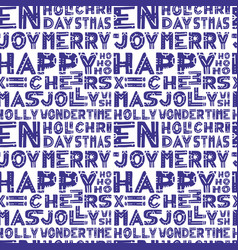 christmas words seamless pattern in hand draw vector image