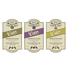 Cider labels set vector