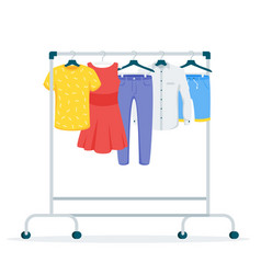 Clothes hanging on rack flat vector