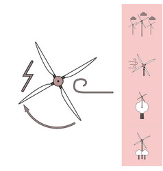 Collection of icons and eco energy vector