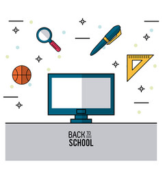 Color poster of back to school with computer in vector