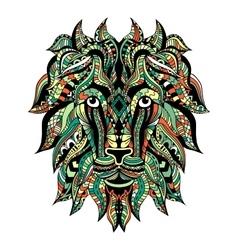 Colored Ornamental Tattoo Lion Head vector image