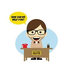 customer service desk cartoon character vector image