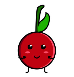 cute cherry emoticon vector image