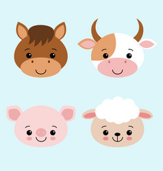 cute farm animals collection set with cow horse vector image