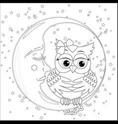 cute owl on half moon with stars adult anti vector image