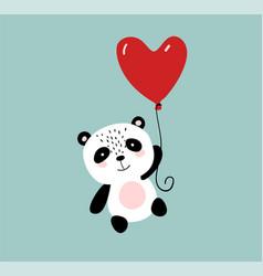 Cute panda flying on a heart shaped balloon vector