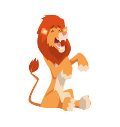 cute playful lion mammal jungle animal character vector image