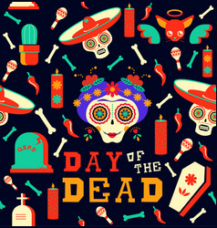 Day of the dead happy sugar skull seamless pattern vector