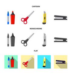 Design of office and supply sign set of vector