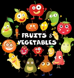 Different kind of fruits and vegetables vector