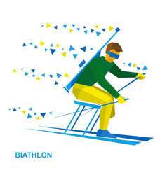 Disabled biathlon skier with a rifle vector