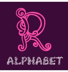 Doodle hand drawn sketch alphabet Letter R vector image