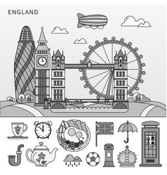 english symbols and english sights flat line vector image