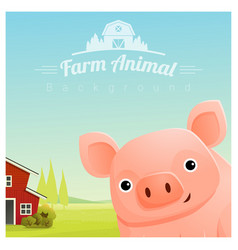 Farm animal and rural landscape with pig vector
