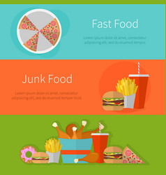 Fast food banner design flat icons of junk food vector