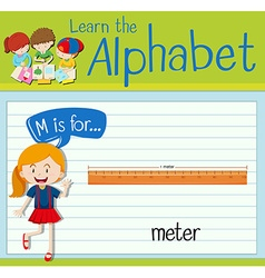 Flashcard letter M is for meter vector image