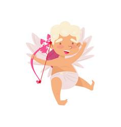 flat icon of joyful cupid cute angel of vector image