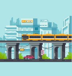 Flat street with road and car under elevated metro vector