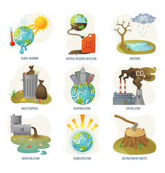 Global warming natural resource depletion problems vector
