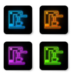 glowing neon coffee machine and coffee cup icon vector image