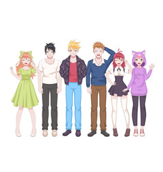 Group anime characters manga girls and boys vector