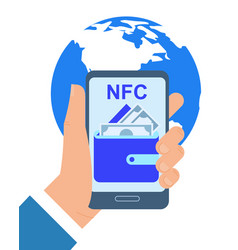 Hand holding mobile phone nfc payment application vector