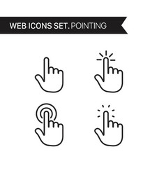 hand pointing thin line icons set vector image