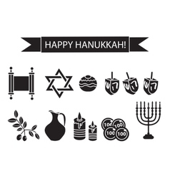 Hanukkah set black silhouette icons Chanukah vector