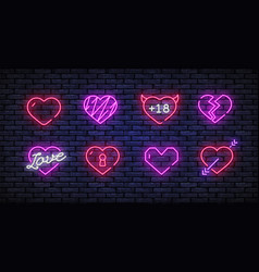heart neon icons set love neon signs set vector image
