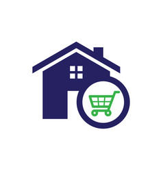 Home shopping chart icon vector