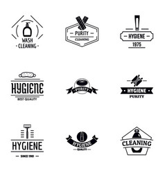 Hygienic cleaning logo set simple style vector
