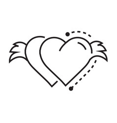 Icon twins hearts wings vector