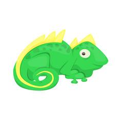 Iguana cartoon lizard animal character green vector