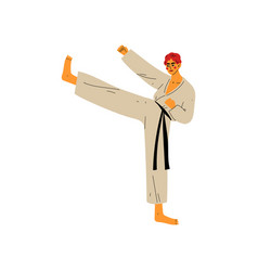Karate fighter doing powerful kick male athlete vector