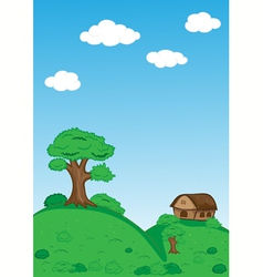 Landscape with trees clouds house and mountains vector