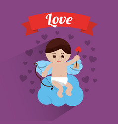 love cupid sitting in cloud hearts background vector image