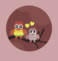 loving cute owls sitting on branch tree vector image