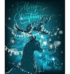 Magic christmas deer vector