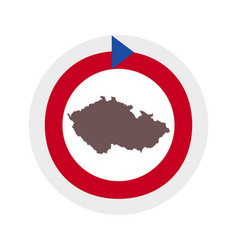 Map czech republic on background with flag vector