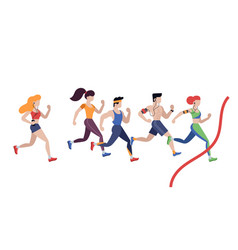 marathon running jogging men and women vector image