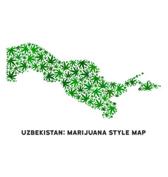 Marijuana collage uzbekistan map vector