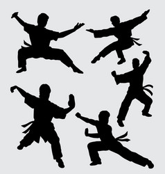 martial art kungfu sport silhouette vector image