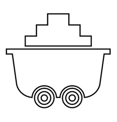 Mine cart or trolley of coal icon black color vector