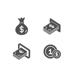 Money bag cash and atm money icons usd coins vector