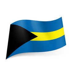 national flag of bahamas blue and yellow vector image
