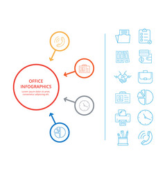 office infographics business income icon analysis vector image