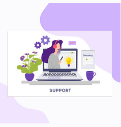 online support conceptonline global technical vector image