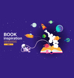 open book space background school reading and vector image